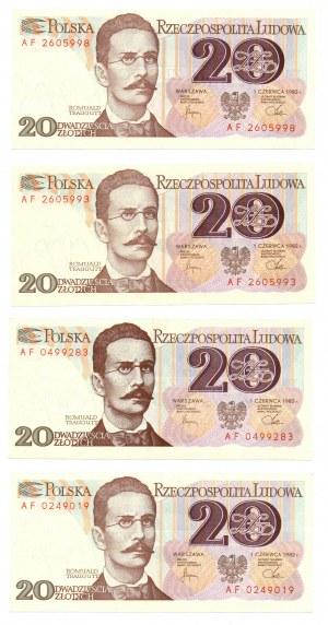 PRL, 20 złotych 1982 - zestaw 4 egzemplarze - Seria AF