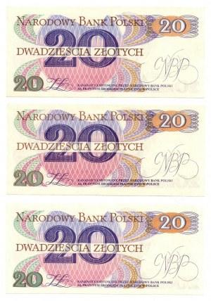 PRL, 20 złotych 1982 - zestaw 3 egzemplarze - Seria AB, AE, AD