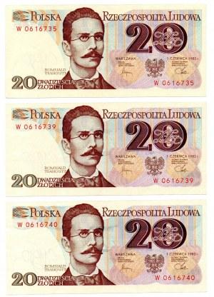 PRL, 20 złotych 1982 - zestaw 3 egzemplarze - Seria W kolejne numery