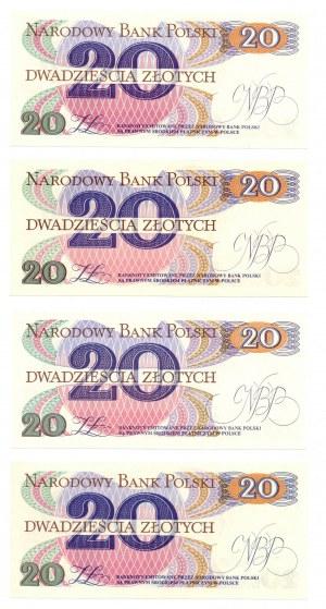 PRL, 20 złotych 1982 - zestaw 4 egzemplarze - Seria B , R , P , M