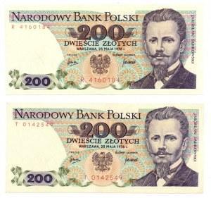 PRL, 200 złotych 1976 - zestaw 2 egzemplarze Seria R i T