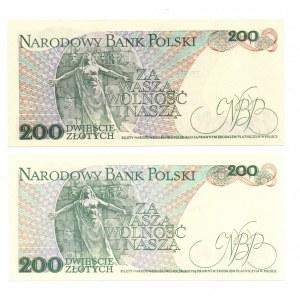 PRL, 200 złotych 1988 - zestaw 2 egzemplarze ED i EH