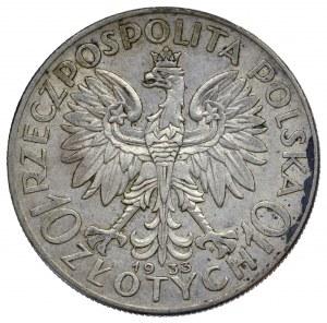 II Rzeczpospolita, 10 złotych 1933 Głowa kobiety