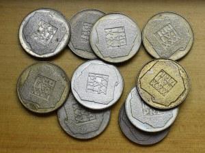 PRL, zestaw srebrnych monet - mapki (10 egzemplarzy)