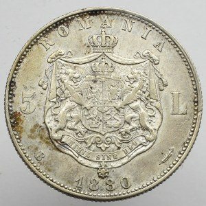 Romania, 5 Lei 1880