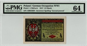 Generalne Gubernatorstwo, 1/2 marki polskiej 1916 Jenerał - PMG 64