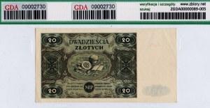 PRL, 20 złotych 1947 B - GDA 55EPQ
