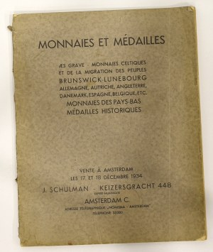 Katalog aukcyjny, J. Schulman, Monnaies et Médailles, Aukcja 17/1934