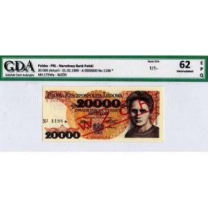 PRL, 20 000 złotych 1989 A - WZÓR - GDA 62EPQ