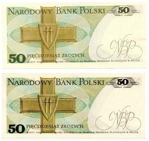 PRL, zestaw 50 złotych 1982 CZ i 50 złotych 1975 D
