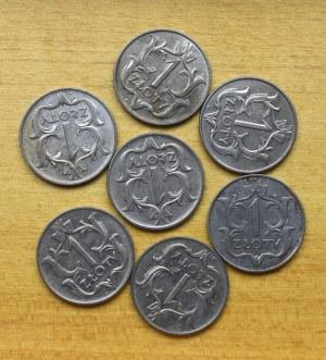 II Rzeczpospolita, zestaw 1 złoty 1929 7 szt.