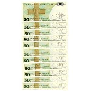 PRL, 50 złotych 1988 - zestaw 11 egzemplarzy - różne serie