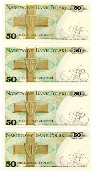 PRL, 50 złotych 1986 - zestaw 4 egzemplarze - różne serie