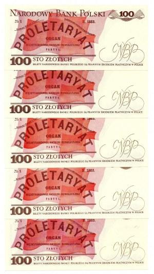 PRL, 100 złotych 1988 - zestaw 5 egzemparzy