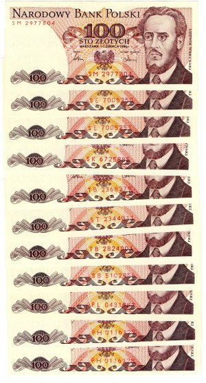 PRL, 100 złotych 1986 - zestaw 11 egzemplarzy