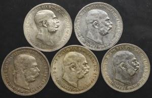 Austro-Węgry zestaw 1 korona 1893-1916 (5 sztuk)