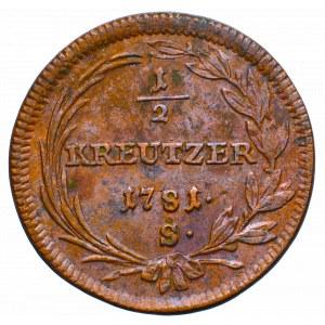 Austria, Józef II, 1/2 krajcara 1781 S