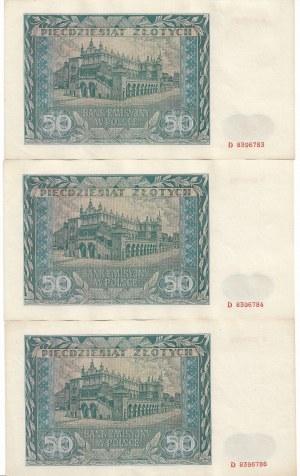 Generalne gubernatorstwo, Zestaw 50 złotych 1941 Ser. D - kolejne numery