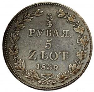 Zabór rosyjski, Mikołaj I, 3/4 rubla=5 złotych 1839 MW