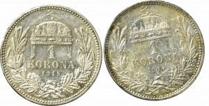 Austro-Węgry zestaw monet 1 korona 1914 i 1915