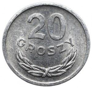 Peoples Republic of Poland, 20 groschen 1975 mint error