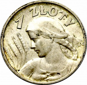 II Rzeczpospolita, 1 złoty 1925, Londyn Kobieta i kłosy