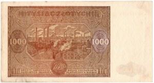 PRL, 1000 złotych 1946 Wb. - bardzo rzadki, seria zastępcza z kropką