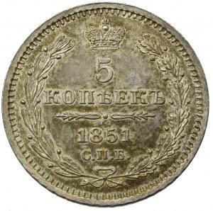 Russia, Nicholas I, 5 kopecks 1851 СПБ ПА, Petersburg