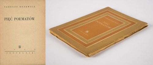 RÓŻEWICZ Tadeusz - Pięć poematów [wydanie pierwsze 1950]