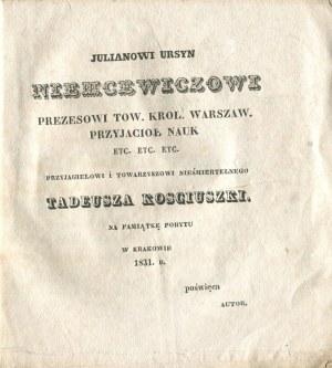 JAKUBOWSKI Franciszek - Poezye [1831]