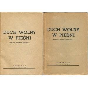 [druk konspiracyjny] Duch wolny w pieśni. Poezja Polski dzisiejszej [1942]