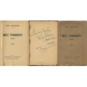 MONDSCHEIN Józef - Miecz płomienisty. Poezje [Chambery 1945] [DEDYKACJA AUTORA]