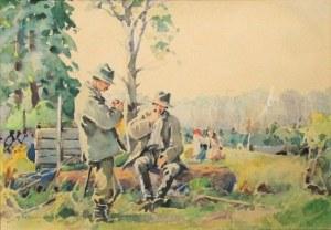 GIBIŃSKI Stanisław (1882 Rzeszów - 1971 Katowice) - Odpoczynek przy pracy.