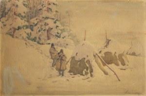 GIBIŃSKI Stanisław (1882 Rzeszów - 1971 Katowice) - Krajobraz zimowy.