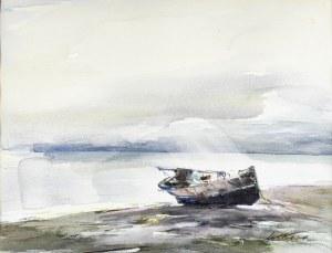Marian MOKWA (1889 - 1987), Łódź na nadbałtyckiej plaży