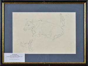 Karol KOSSAK (1896-1975), Szkice leżącej krowy, konia, rysunek satyryczny mężczyzny w cylindrze, 1922