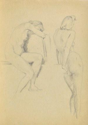 Ludwik Antoni MACIĄG (1920-2007), Studia aktu kobiety w dwóch pozach: siedzący akt kobiety i stojący akt kobiety