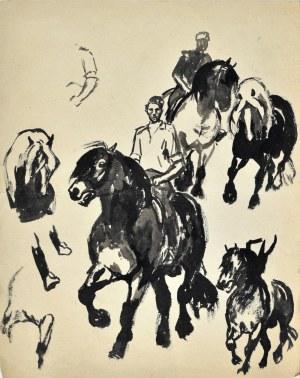 Ludwik Antoni MACIĄG (1920-2007), Szkice jeźdźca na koniu i konia w różnych ujęciach