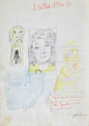 Janina MUSZANKA – ŁAKOMSKA (1920-1982), Portret młodej kobiety oraz godło Lwowa i inne szkice, ok. 1965