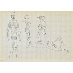 Jerzy PANEK (1918-2001), Postacie mężczyzny, dwu kobiet oraz leżący pies