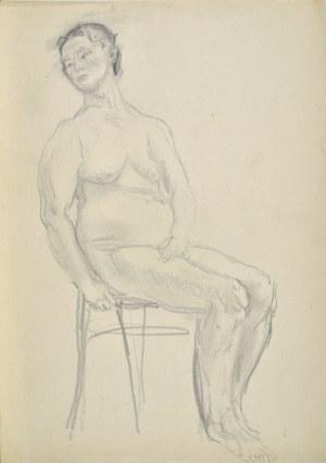 Kasper POCHWALSKI (1899-1971), Akt siedzącej kobiety na krześle, 1953