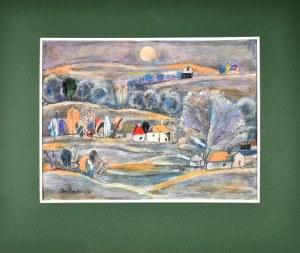 Eugeniusz TUKAN - WOLSKI (1928-2014), Pejzaż wiejski w świetle księżyca