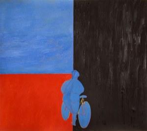 Jarosław MODZELEWSKI ur. 1955, Kobieta wsiada na rower w kierunku Magdalenki, 1993