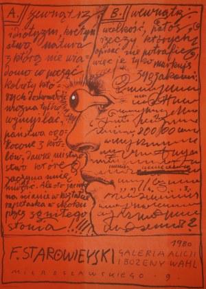 proj. Franciszek STAROWIEYSKI (1930-2009), Plakat do wystawy własnej w galerii A. i B. Wahl