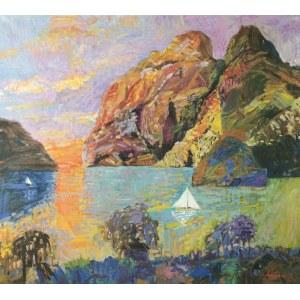 Jan SZANCENBACH (1928-1998), Pejzaż norweski z łódką, 1989