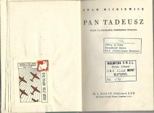 Mickiewicz Adam PAN TADEUSZ Wyd. Londyn / RAF Polscy Piloci