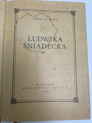 CZAPSKA Ludwika Śniadecka Warszawa 1938