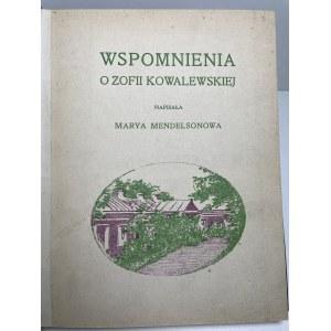 MENDELSONOWA Maria - Wspomnienia o Zofii Kowalewskiej. Kraków 1911