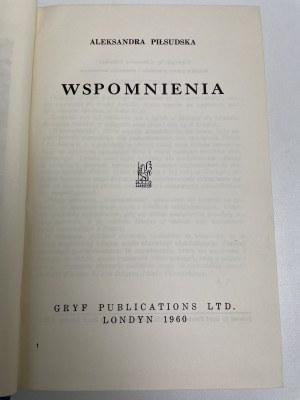 PIŁSUDSKA Aleksandra - Wspomnienia. [wyd. 1 polskie] Londyn 1960