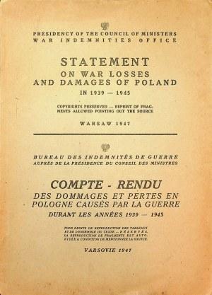 [STRATY wojenne Polski] Statement on War Loses and Damages of Poland in 1939 - 1945 Warsaw 1947